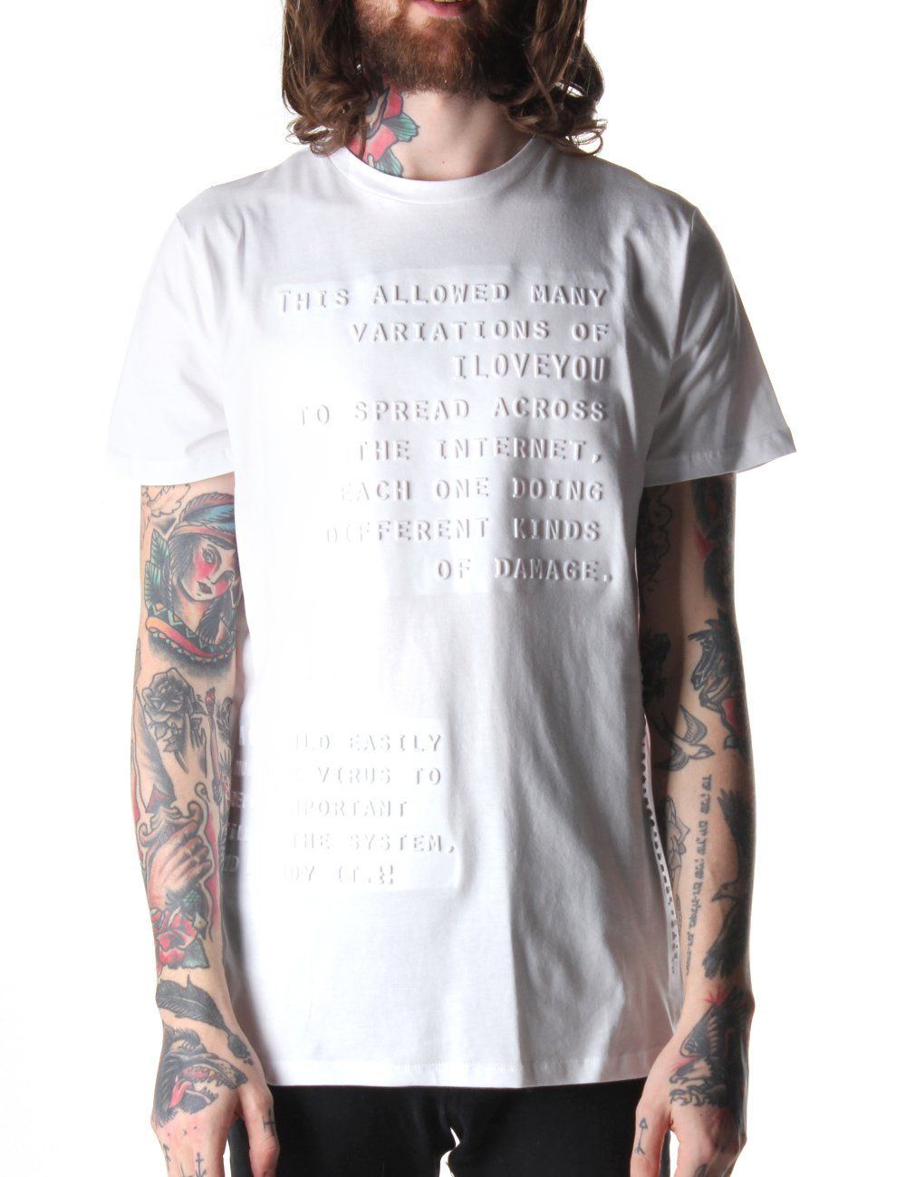 cc654c73 Blood Brother Letter Men's Embossed Print T-Shirt White in 2019 | T ...
