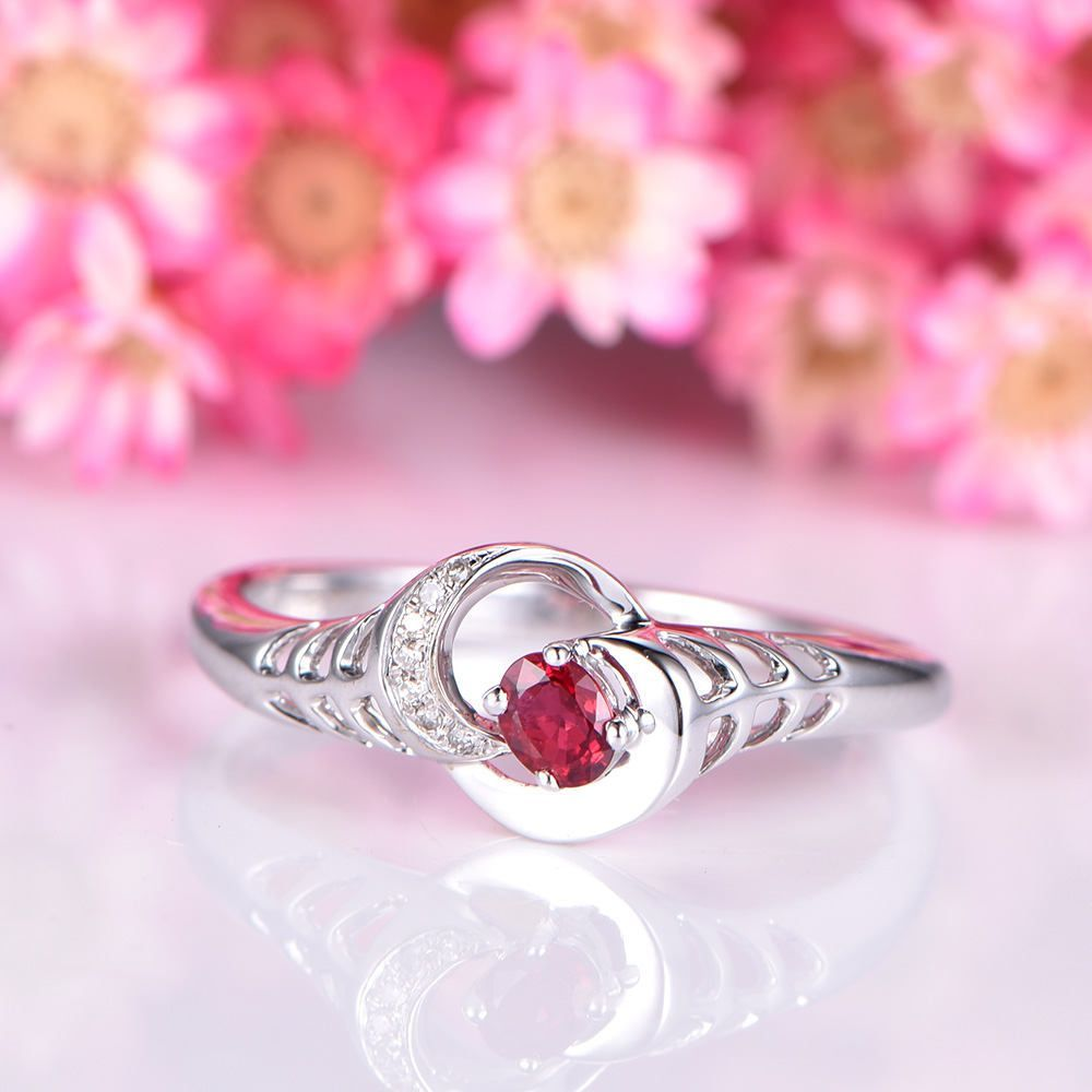 Unique ruby ring 3x5 oval cut ruby engagement ring irregular diamond ...