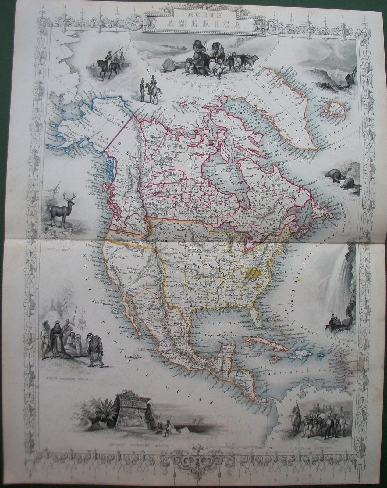 1851 North America Antique Tallis Rapkin Map Engraving USA Canada