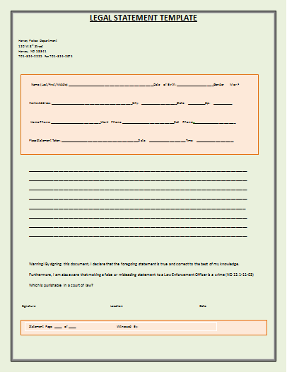 Legal Statement Template  Wordstemplates    Statement