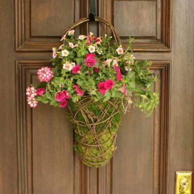 Easy Front Door Moss Basket Flower Arrangements Wreaths Etc