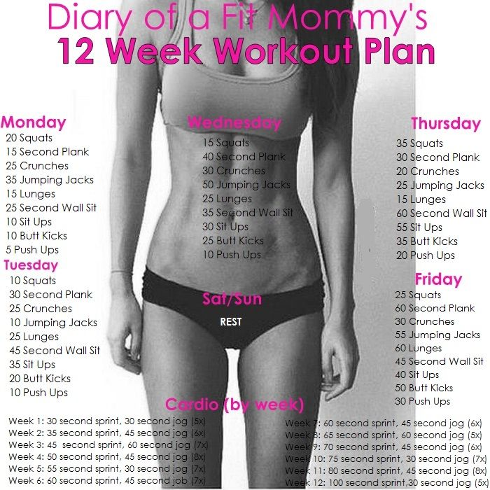 Diary Of A Fit Mommy   Week Home Workout Plan No Gym Or