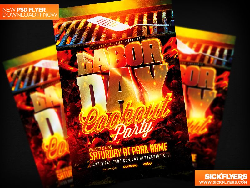 Labor Day Cookout Flyer Template Psd  Flyer Template Labour And