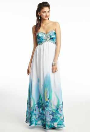 Chiffon Place Print Prom Dress from Camille La Vie and Group USA ...