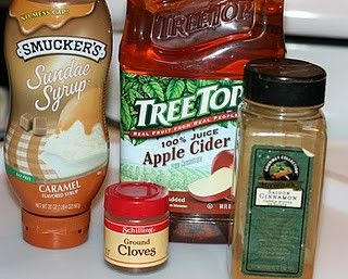 Starbucks Caramel Apple Cider in the crock pot.  Will DEFINITELY be making a batch of this in the fall! =)