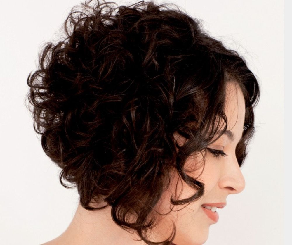 Curly graduated haircut  Short stacked hair, Curly hair styles