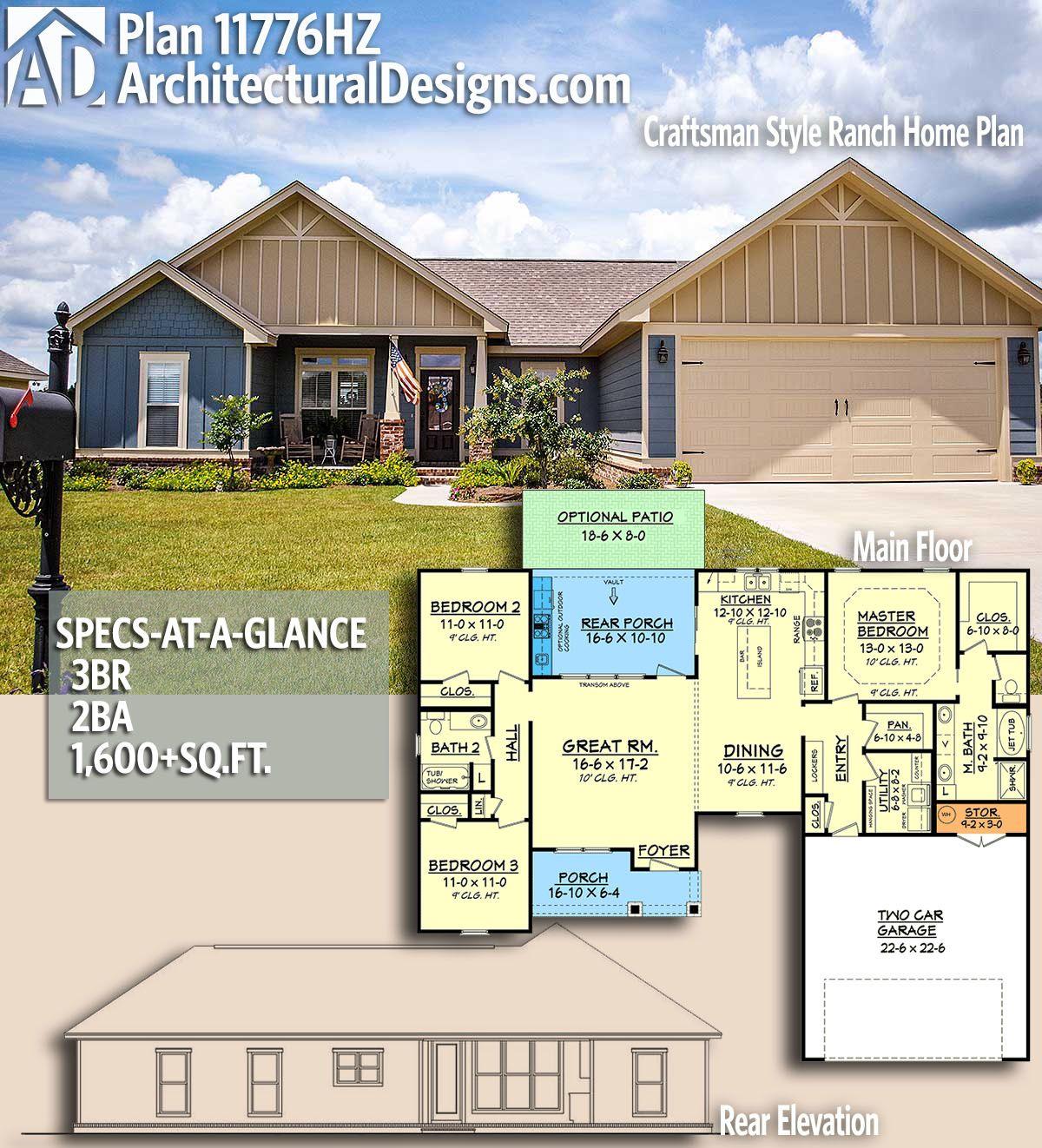 Plan 11776hz Craftsman Style Ranch Home Plan Ranch House Plans Craftsman House Plan House Plans