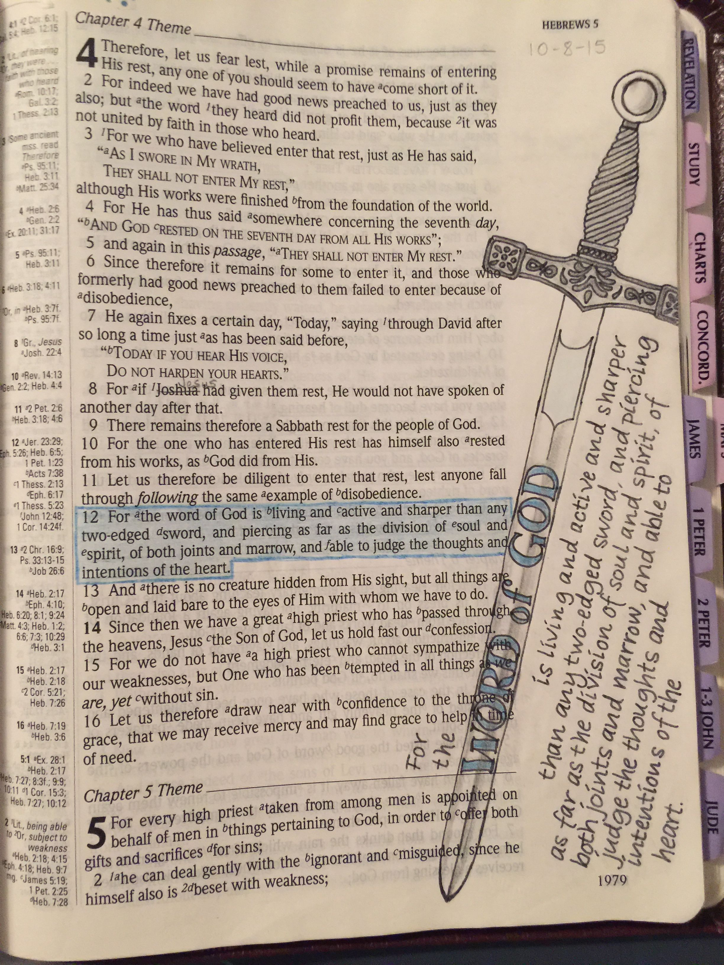Hebrews 4:12   Hebrews   Bible doodling, Scripture study, Bible art