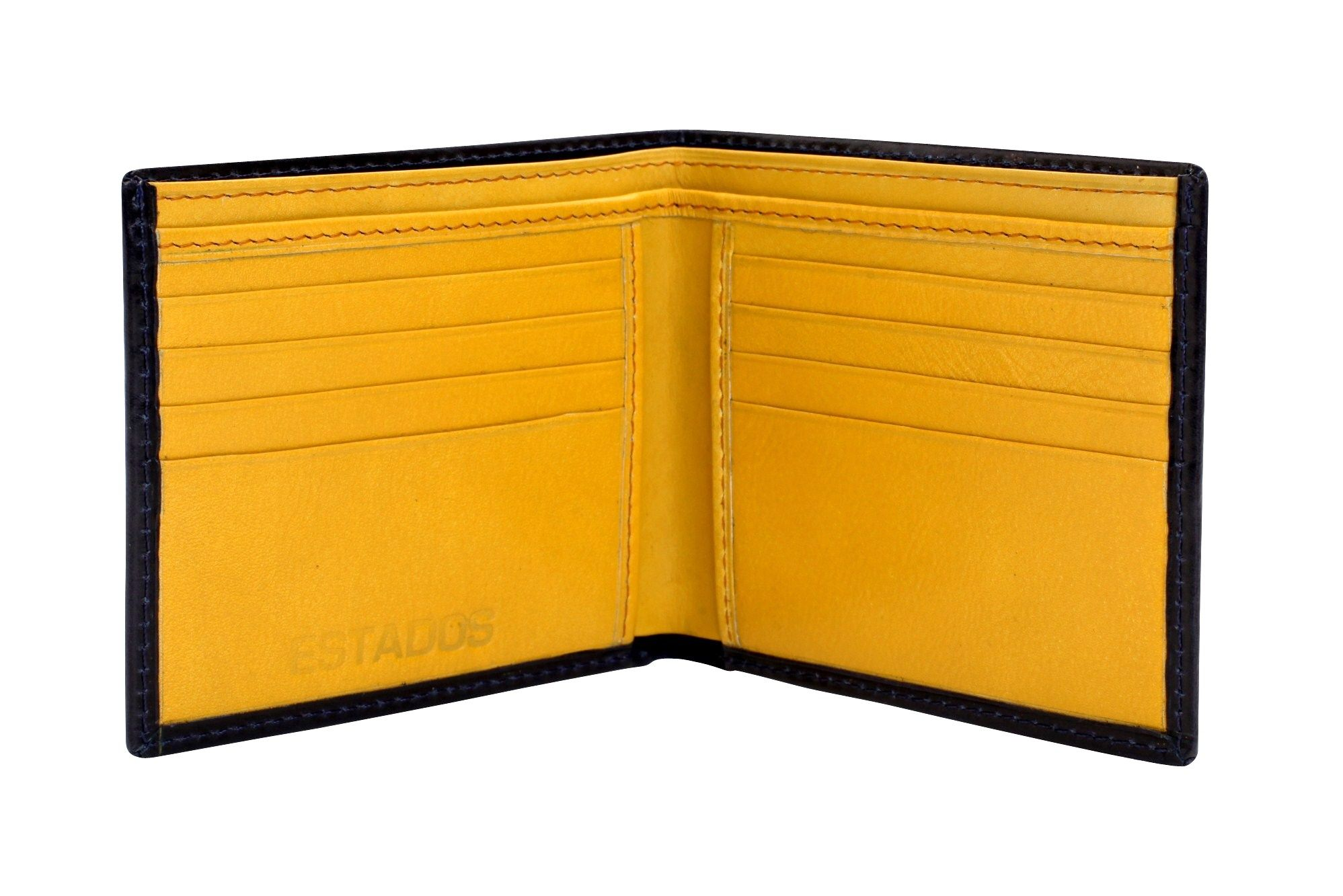 Dark navy and golden yellow leather wallet estados