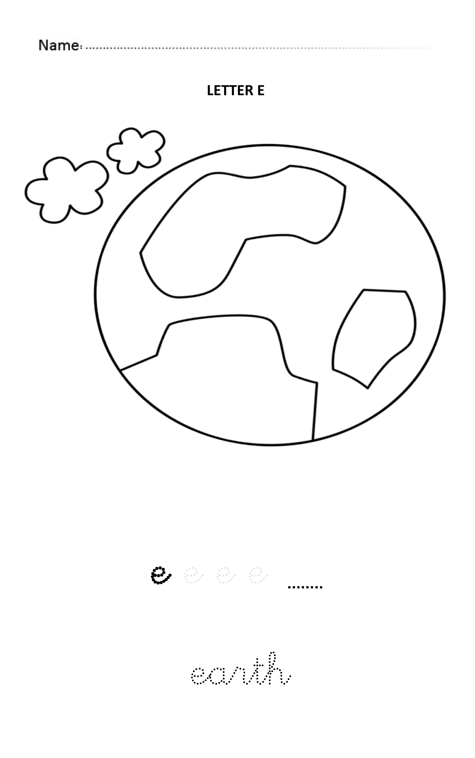Letter E Easy And Visual Colouring Worksheet For Early