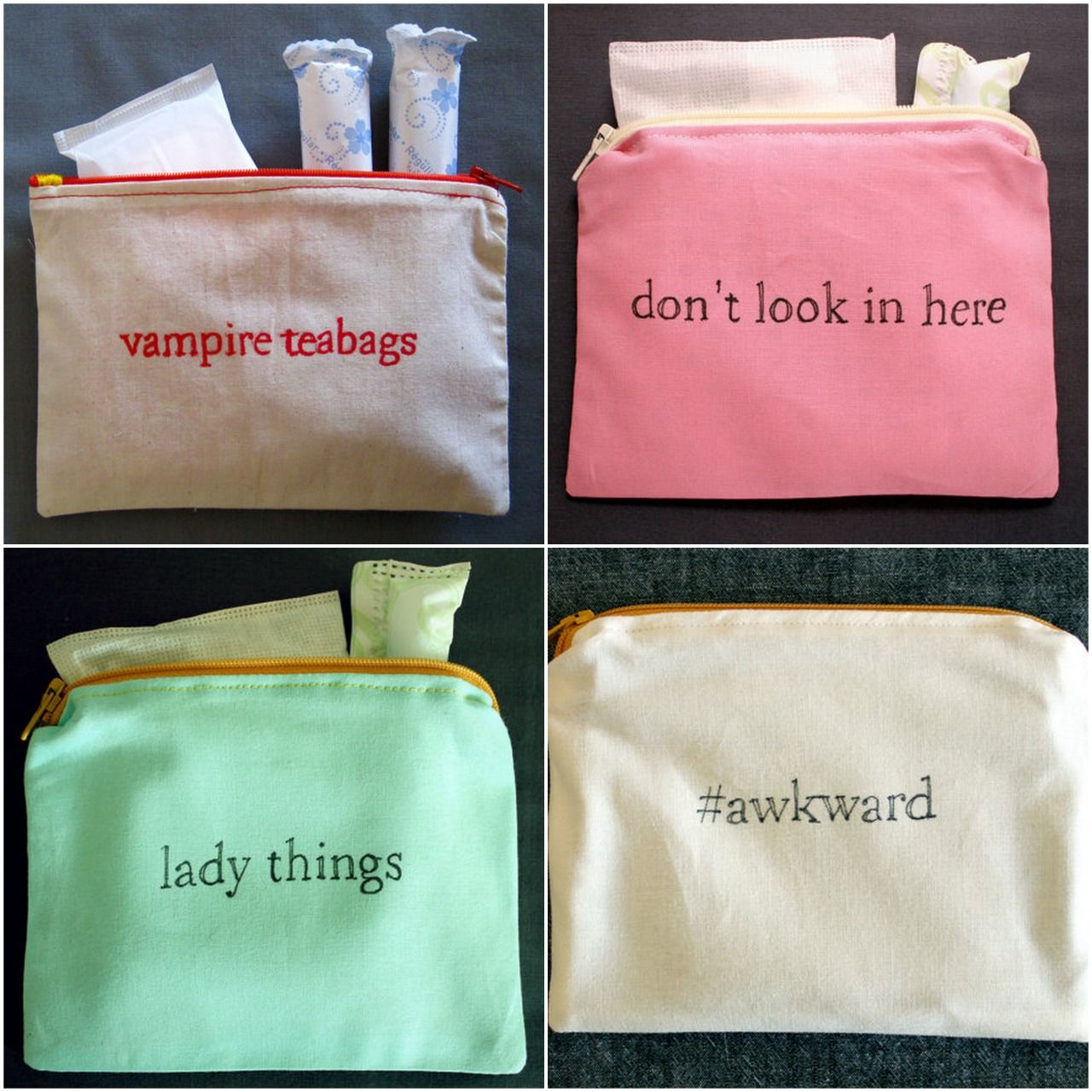 truebluemeandyou: What's trending on my Tumblr Analytics? Indescreet Tampon Bags - one of my favorites. Indiscreet Toiletry Bags by Etsy Seller dreadfulgirl. Just saw one of these bags on FB with no...