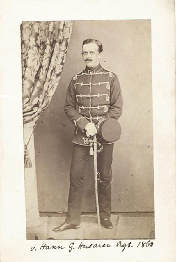 Circa 1860 An Early Carte De Visite Photograph Showing Lieutenant Von Hamm In Interim Walking Out Uniform Of The Leib Garde Hussar Regiment