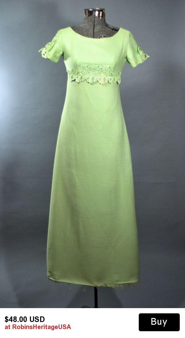 Vintage 1960 39 S Green Apple Maxi Dress 60 39 S Regency Empire Waist Floor Length Dress Made In Usa Maxi Dress Formal Dresses Maxi Dress
