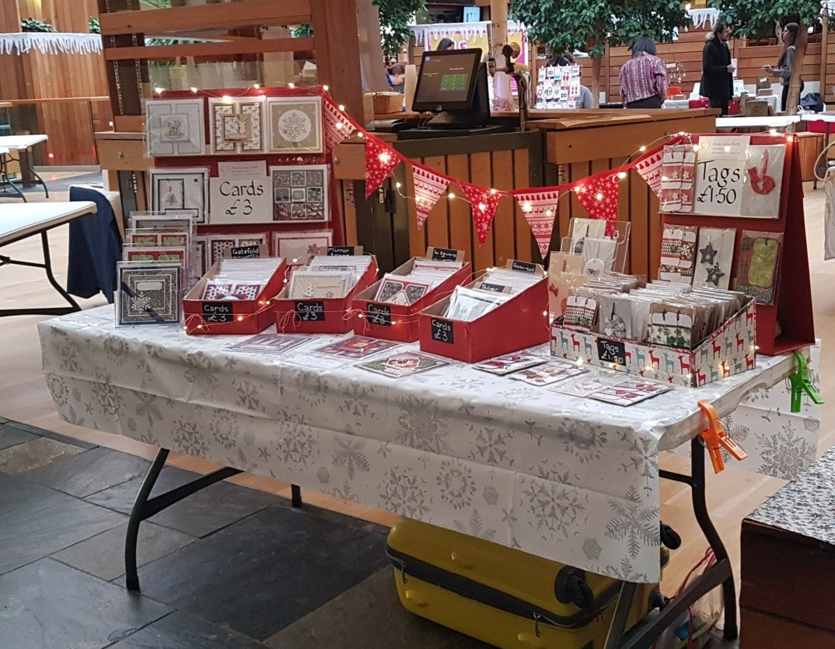 Simple DIY greeting cards craft stall using old cardboard