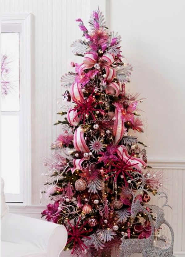 15 Cute and Beautiful Pink Christmas Tree Decorating Ideas pink-christmas- tree-decorating