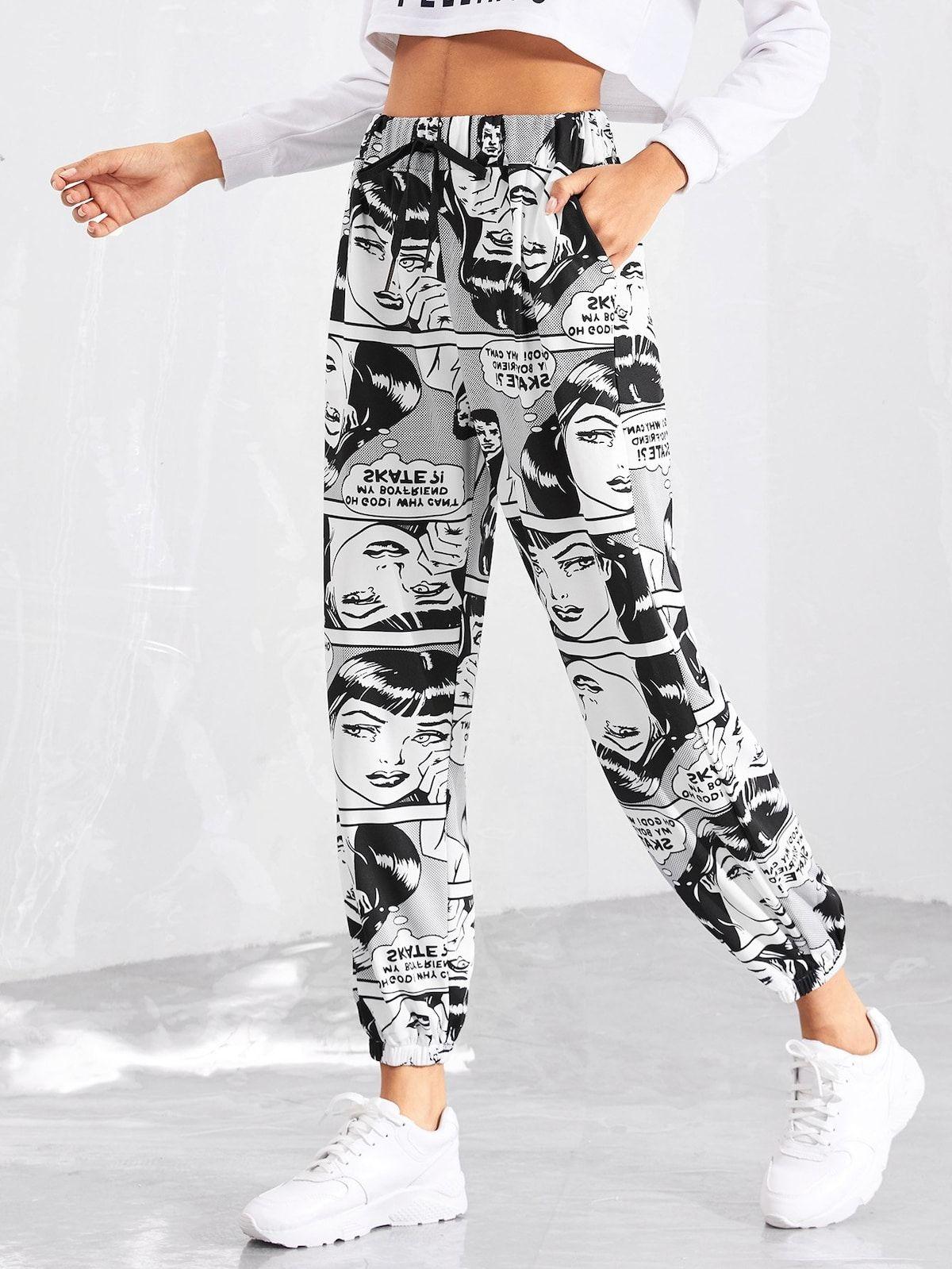 Pantalones Con Estampado De Comic Romwe Ropa Para Ninas Fashion Moda De Ropa Ropa Para Chicas Adolescentes