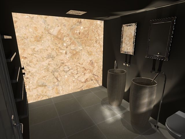 Dark wetroom design, 3D render of backlit onyx wall with ceiling - luxusbad whirlpool