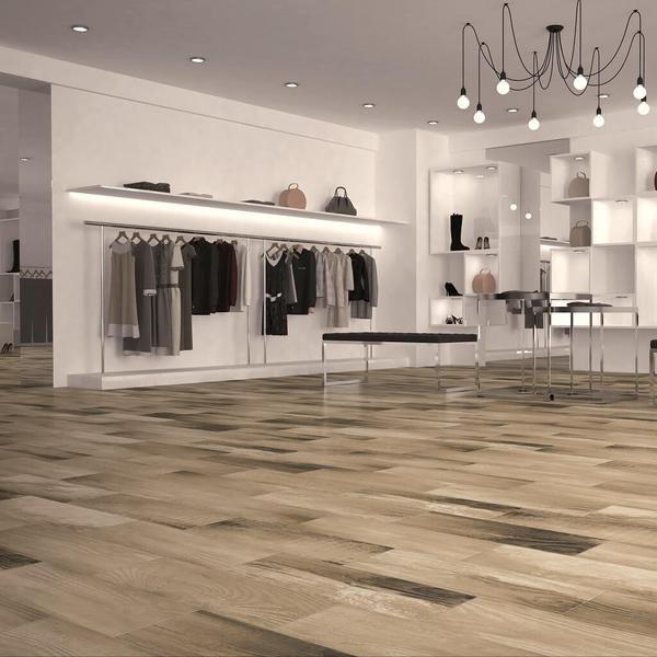 Kerala Wood Effect Tiles on High Street Fashion Shop Floor   wood ...