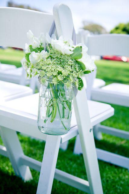 Aisle decoration, hanging jars or vases, white flowers