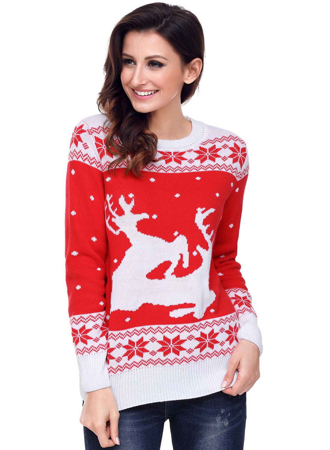 Round neck red white reindeer in the snow christmas swaeter white