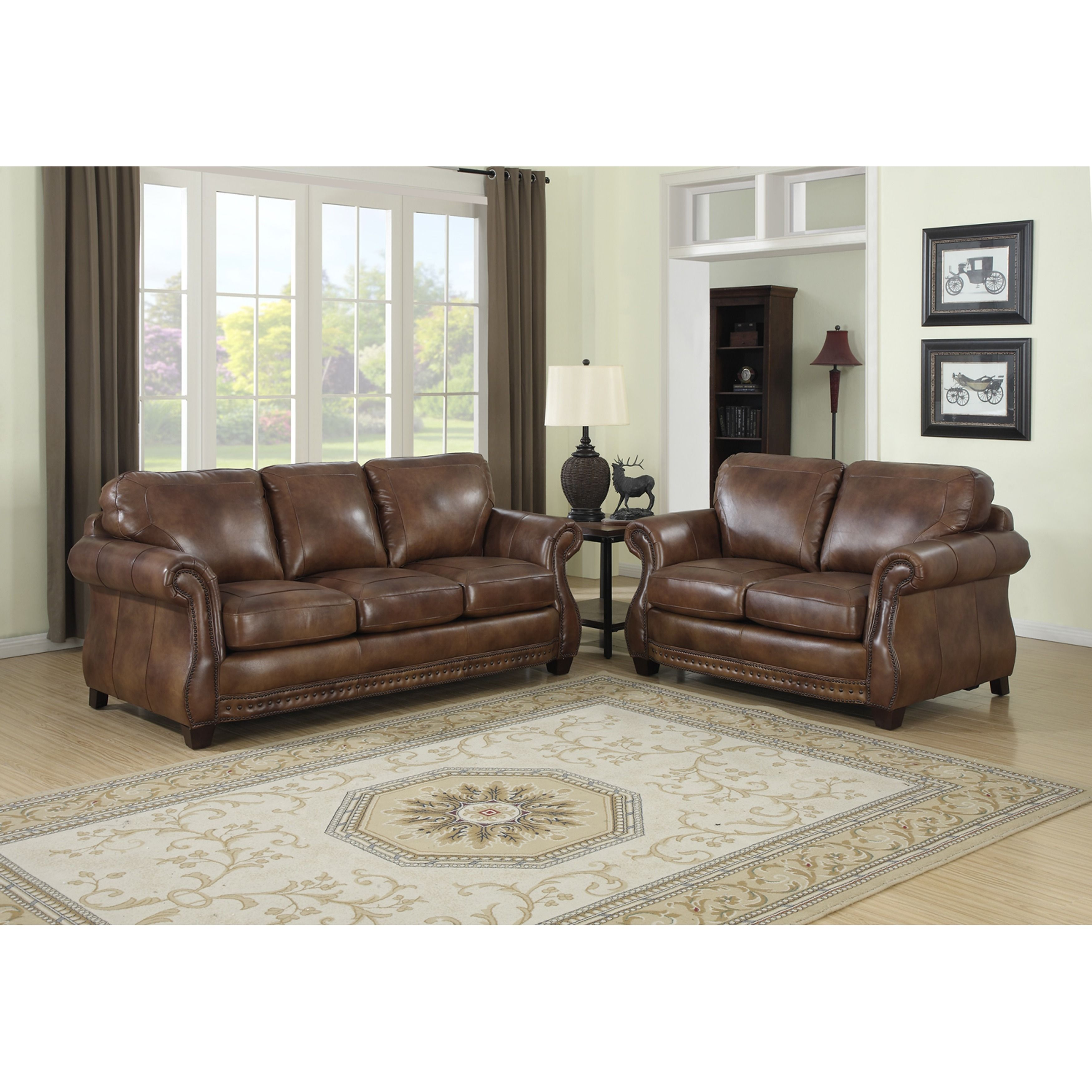 Best Sterling Cognac Brown Italian Leather Sofa And Loveseat 640 x 480