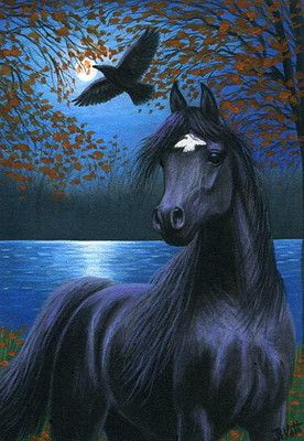 Black stallion horse raven autumn fall moon lake night original aceo painting  by B. Voth