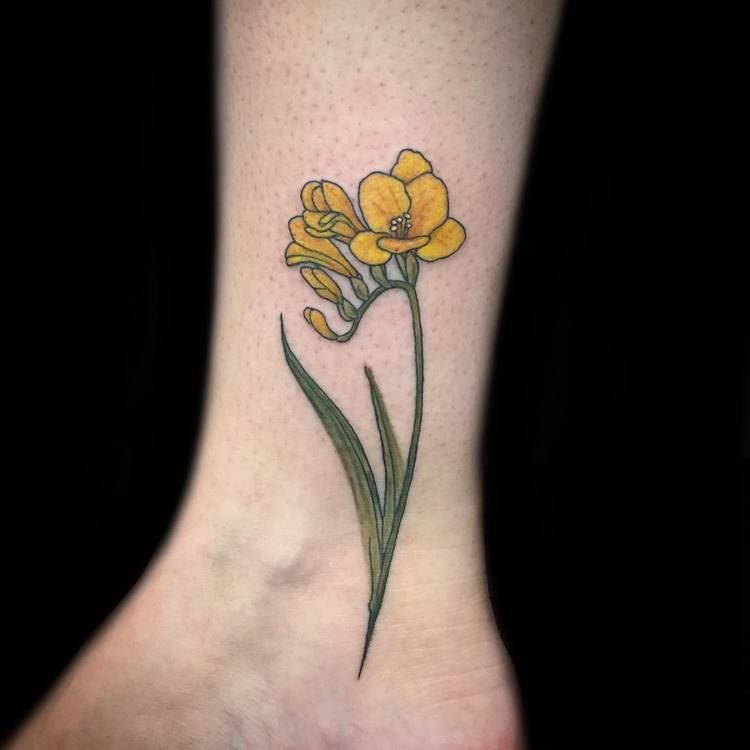 22 Beautiful And Delicate Freesia Tattoo Designs Page 2 Of 2 Tattooadore Yellow Flower Tattoos Yellow Tattoo Tattoos