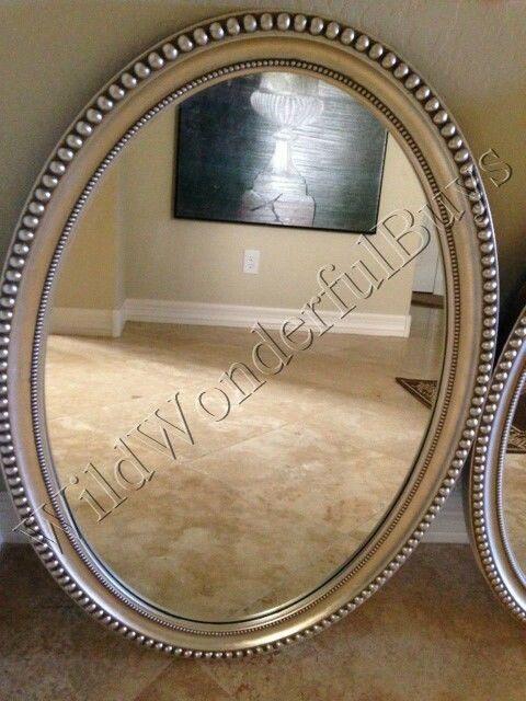 Beaded Edge Oval Wall Mirror Silver, Oval Silver Beaded Mirror