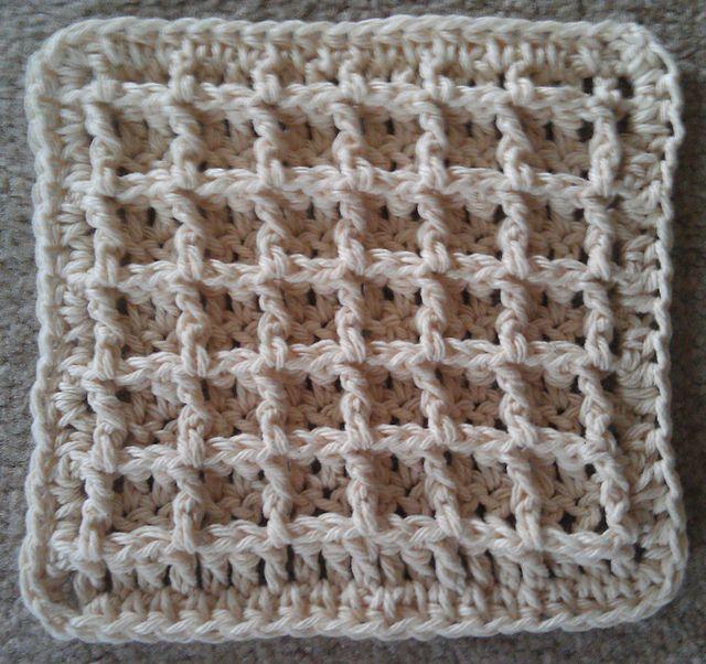Waffle Crochet Dishcloth @Alicia it\'s like the blue lattice but ...