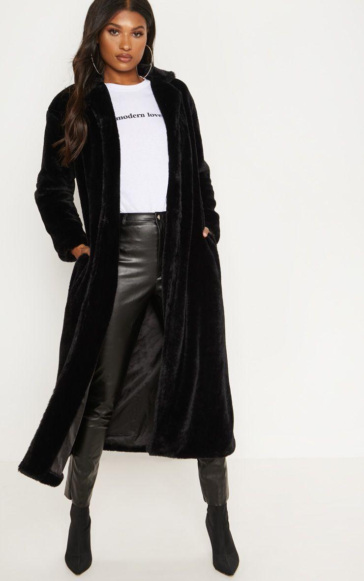 Black Longline Faux Fur Coat Faux Fur Jackets Women Womens Faux Fur Coat Coats For Women [ 1180 x 740 Pixel ]