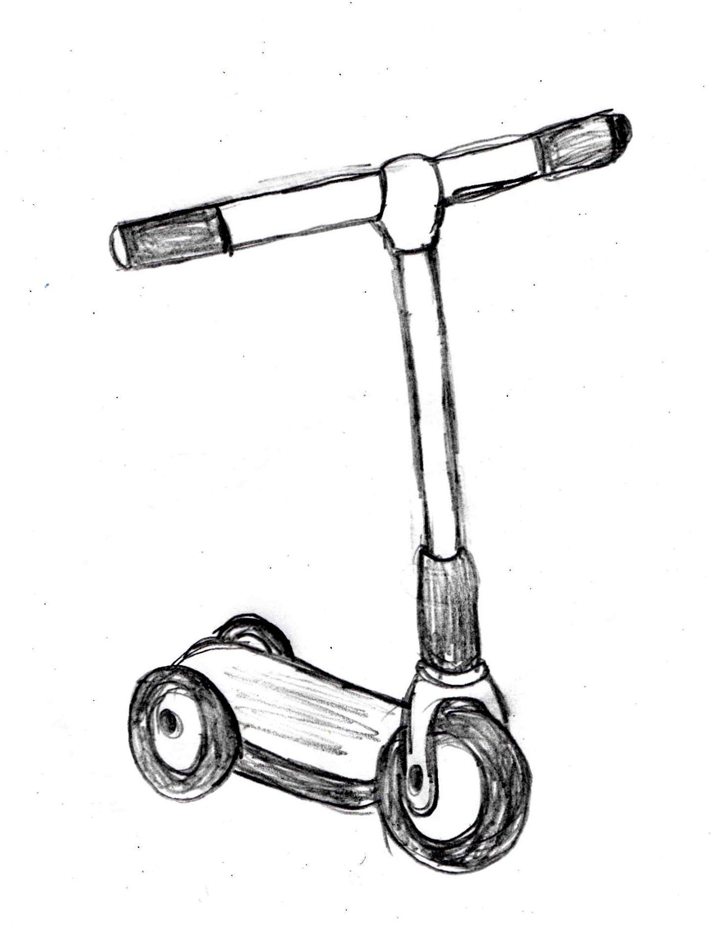 Kick Scooter drawing tutorial http://drawingmanuals.com