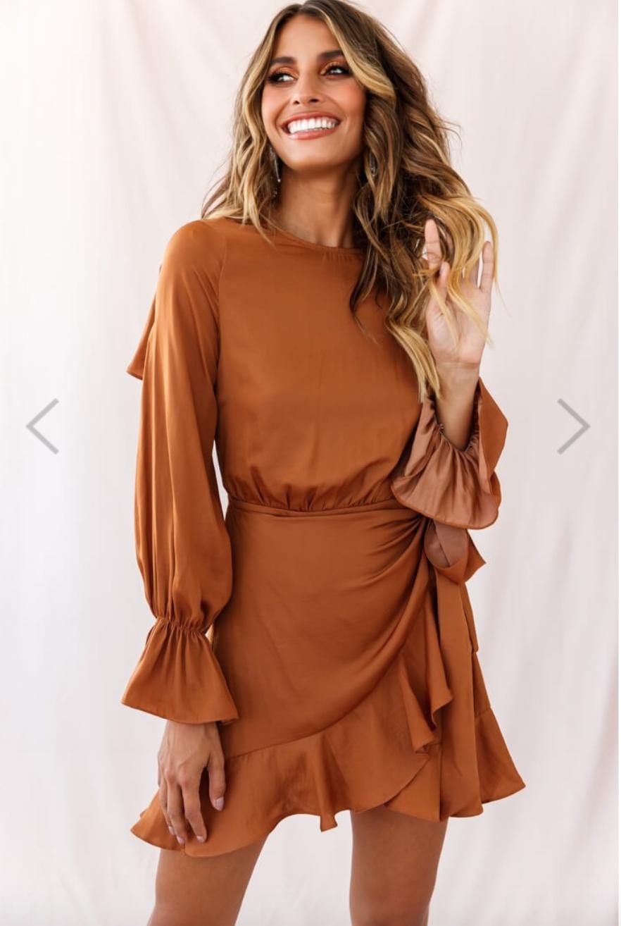 Darla Long Sleeve Satin Dress Tan Long Sleeve Satin Dress Long Sleeve Dress Long Sleeve Wrap Dress [ 1314 x 882 Pixel ]
