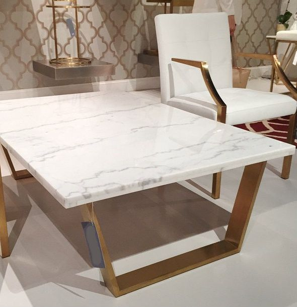 A Simple Yet Exquisite White Marble Coffee Table With Brushed Gold