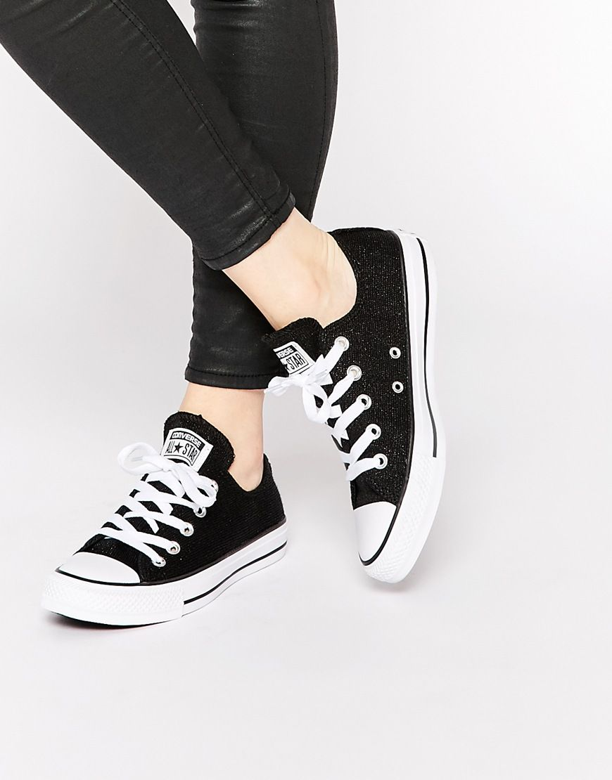 ef61d2bdf88f Converse Sparkle Black Knit Chuck Taylor Low Top Trainers | awesome ...
