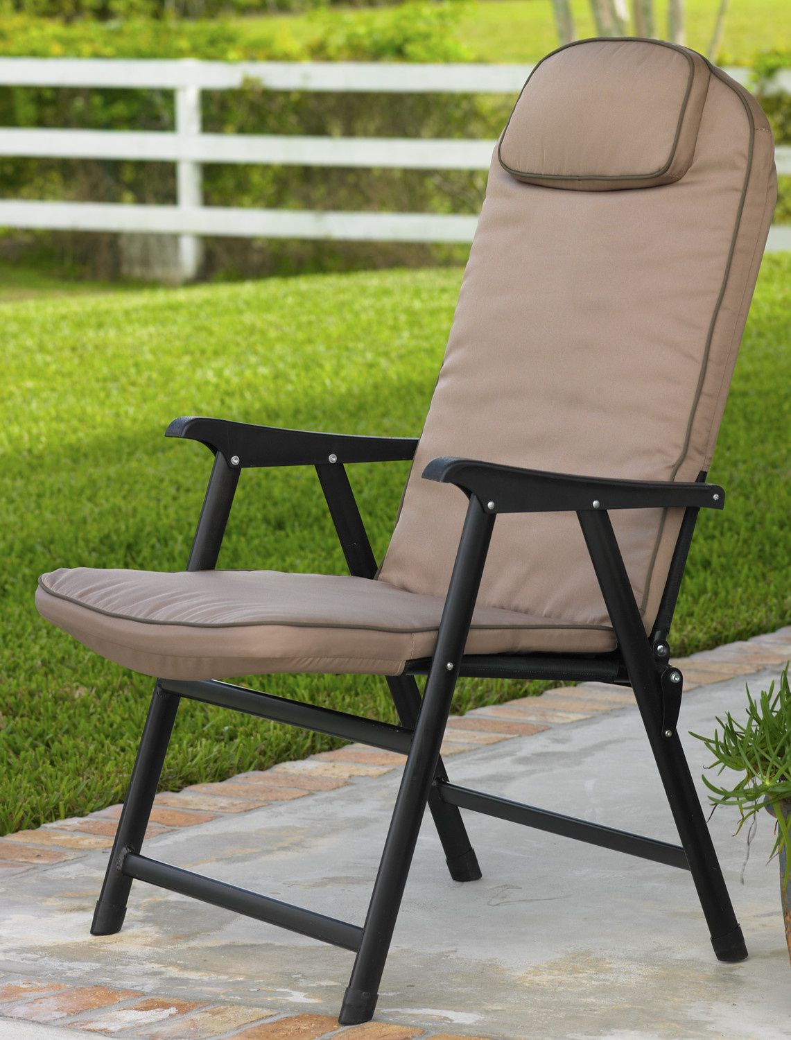 Extra Wide Folding Padded Outdoor Chair Stationary Weight Capacity Sy Lightweight Aluminum Frame Iron Seat Support Headrest Detachable Foam