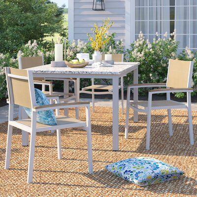 Sol 72 Outdoor Caspian Patio Dining Chair Fabric Color Titanium