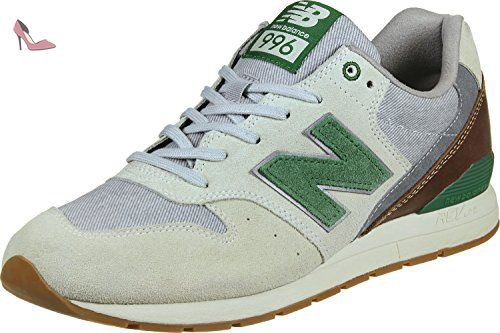 996 Leather, Baskets Homme, Gris (Grey/White), 41.5 EUNew Balance