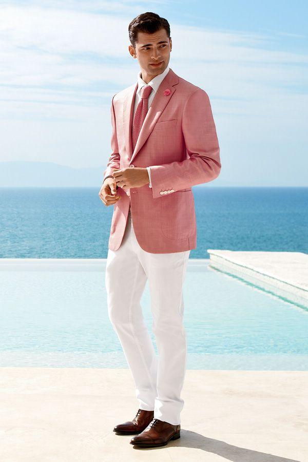 Die Sommertrendfarben (altrosa und weiß) elegant kombiniert.