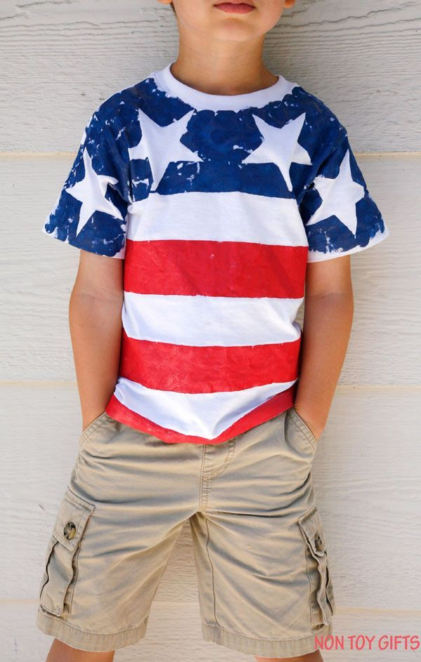 7aebb64f5875b DIY American flag shirt for kids to make. This is an easy patriotic craft  for 4th of July