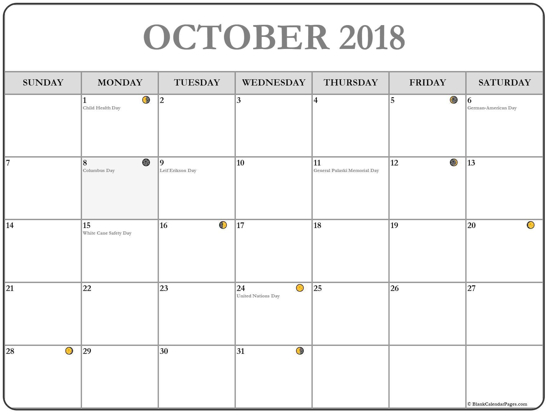 calendar 2018 October moon phase #october #calendar #printable ...