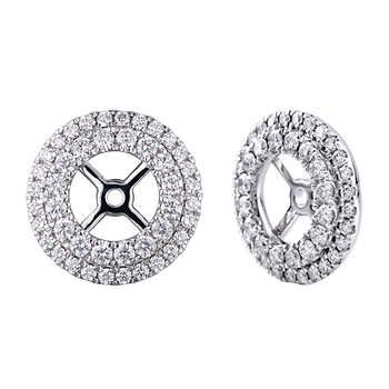 Round VS2 Clarity, I Color Diamond 14kt White Gold Earring Jackets (Fit 1.80 ctw - 2.00 ctw Round Studs)