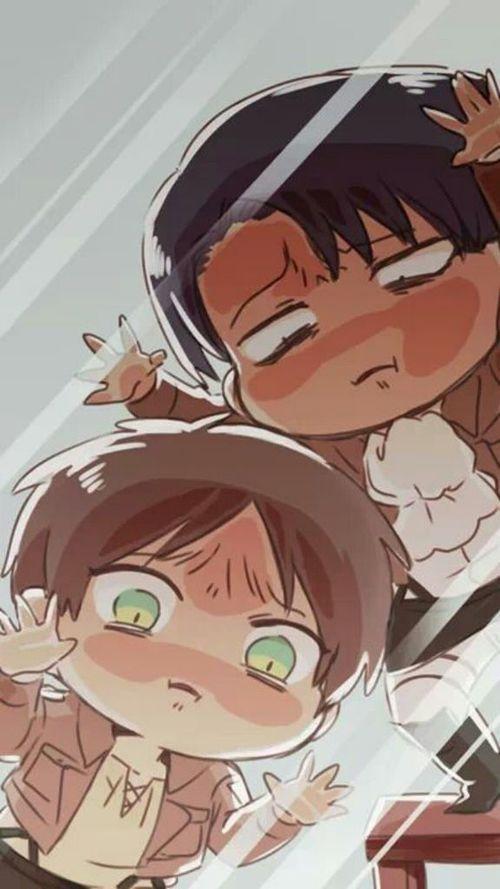 Snk Aot Shingeki No Kyojin Chibi Levi Ackerman Eren Yeager Anime Attack On Titan Anime Anime Wallpaper