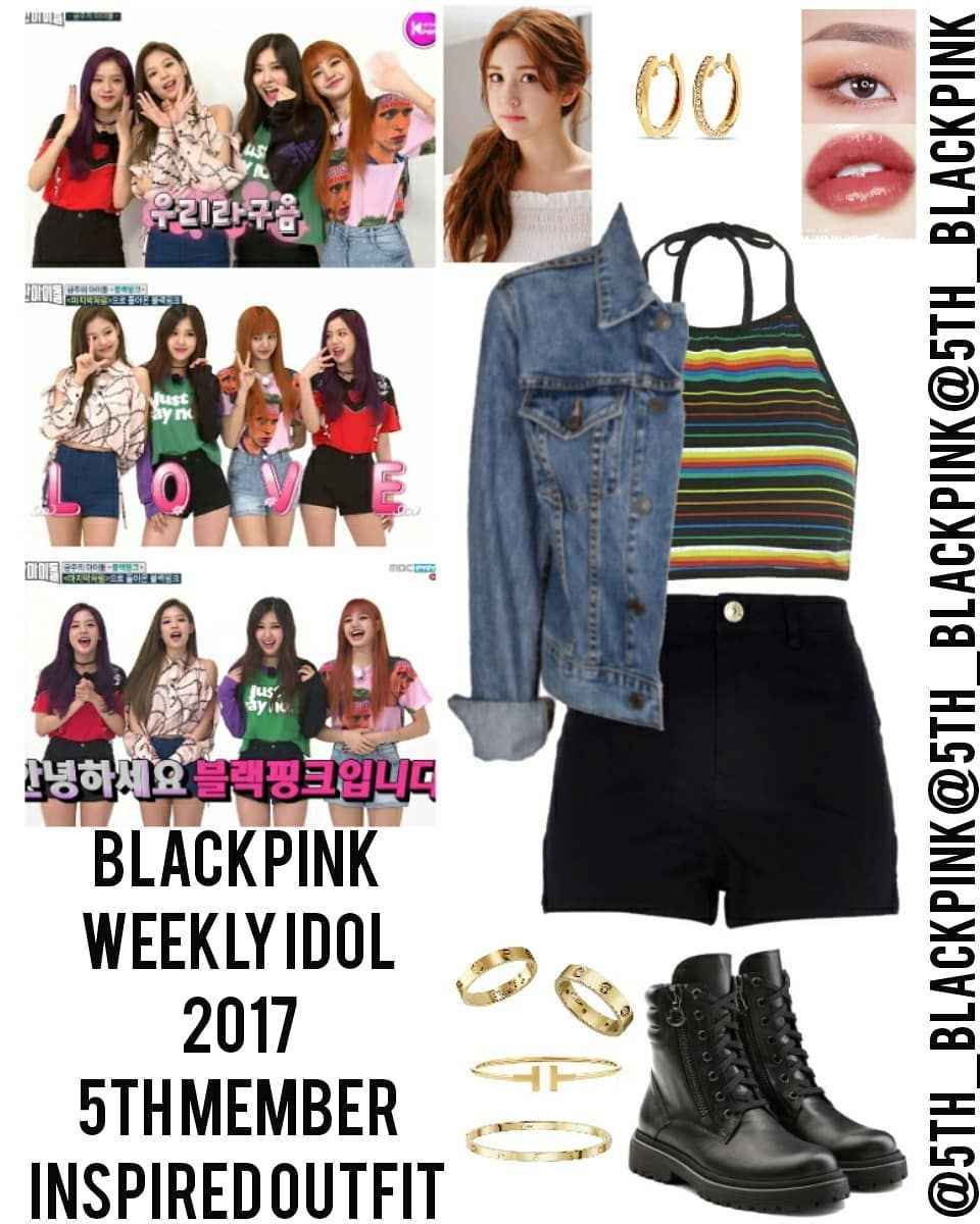 Blackpink 5th Member Outfits On Instagram Blackpink Weekly Idol 2017 5th Member Inspired Outfit Kpop Fashion Outfits Kpop Outfits Edgy Outfits
