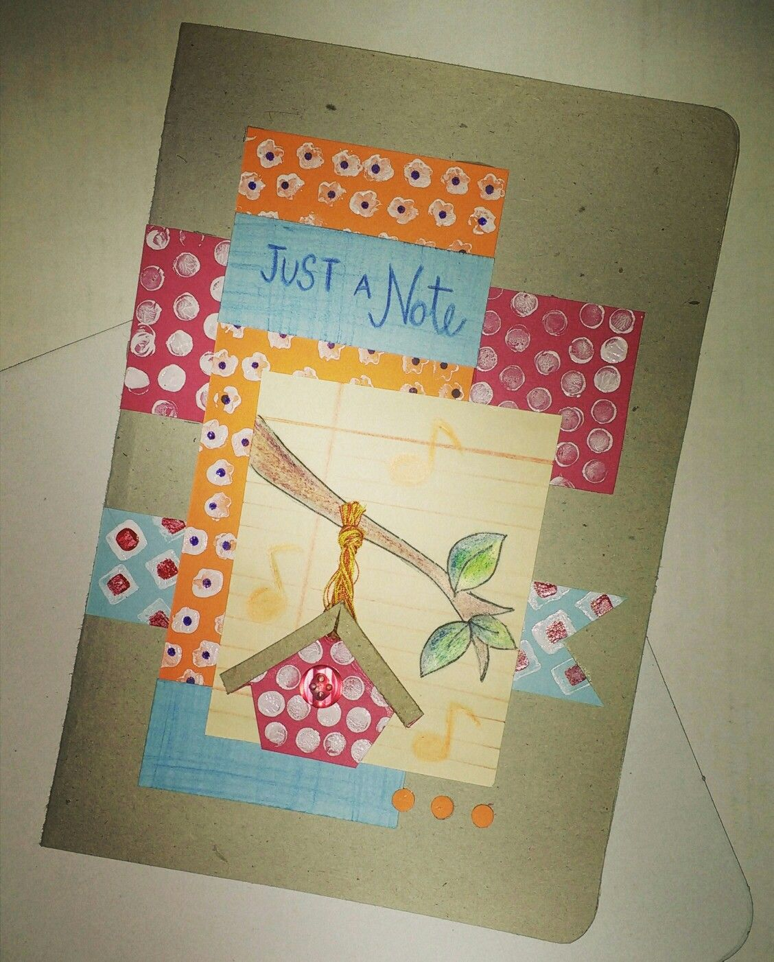 Handmade just a note stamped greeting card Paper town