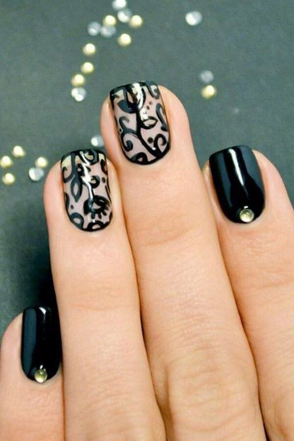 uas-negras-con-accesorios-2jpg (600×900) Uñas Pinterest Manicure