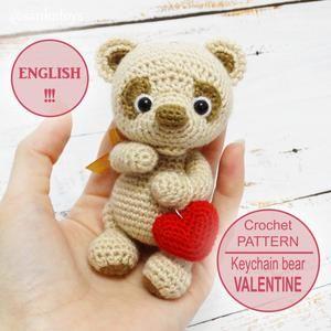 Amigurumi Crochet pattern Little Bear Valentine digital | Etsy