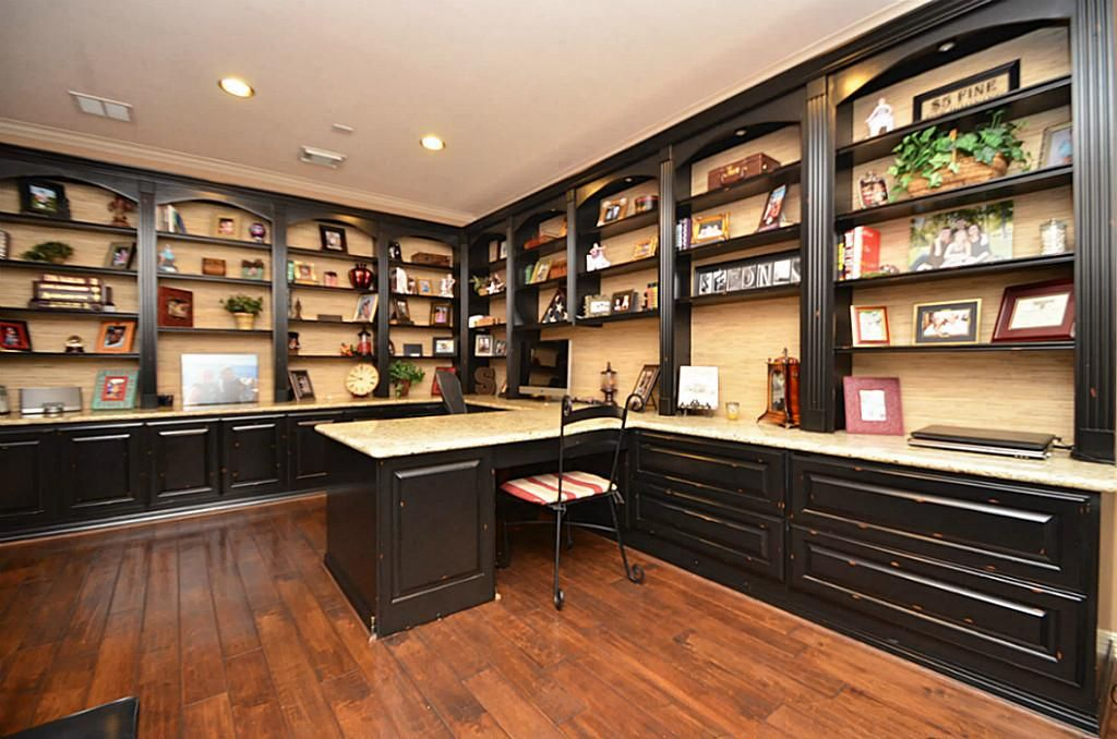 Custom Study With Built In Desk, Granite Surface Throughout Bookshelves,  Cabinets, U0026