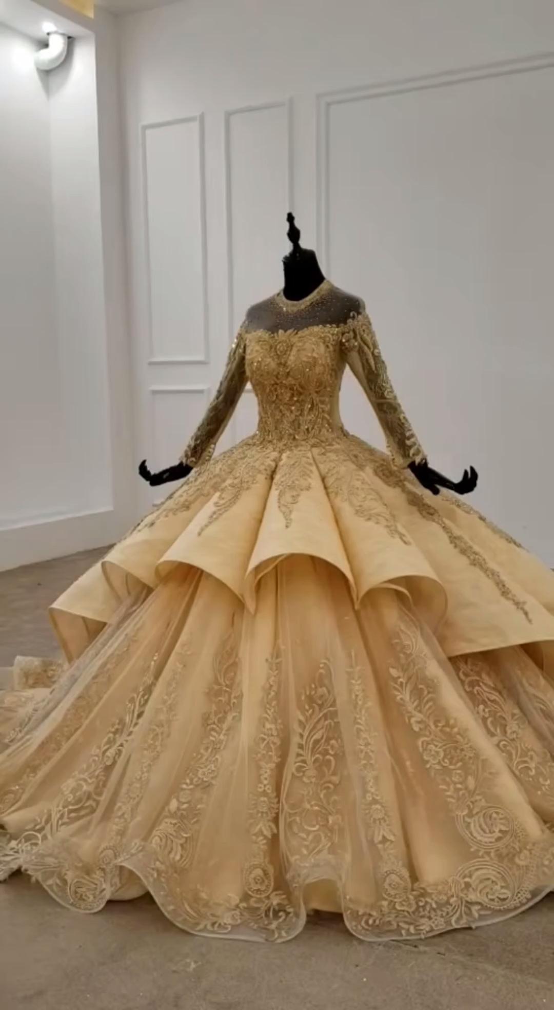 Ball #dress #dresses #fd20 #Gold #gown #Hochzeitskleid Spitze