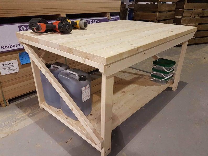 Wooden Workbench Super Heavy Duty 3ft To 6ft Length 4ft Etsy Workbench Wooden Work Bench Making A Workbench