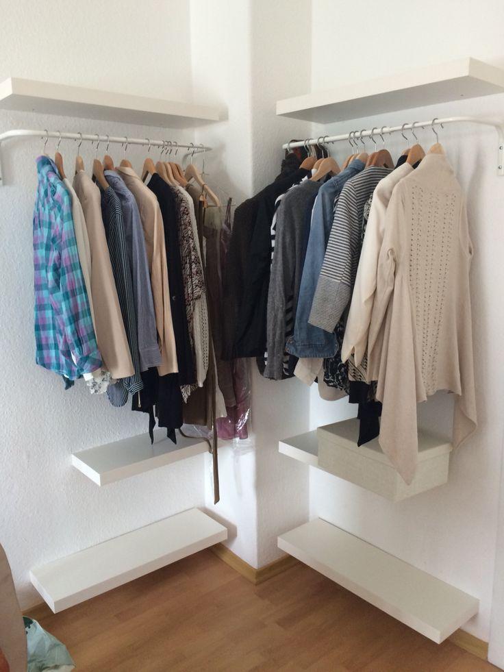 Hier eine kleine Idee für einen offenen Kleiderschrank. Ikeastyle für kleines … #flurideen